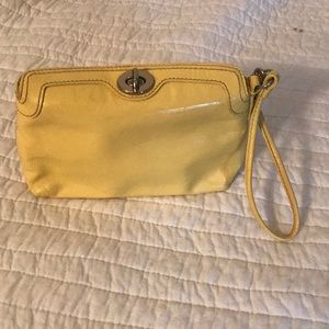 Yellow Leather Coach Clutch